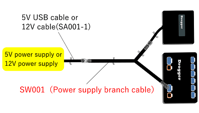 It is a cable that branches the power supply of DG-PRO1 and Drogger.