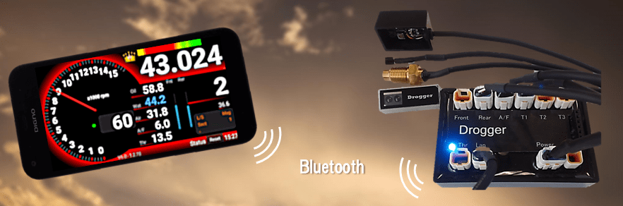 Drogger (data logger) uses bluetooth for wireless communication